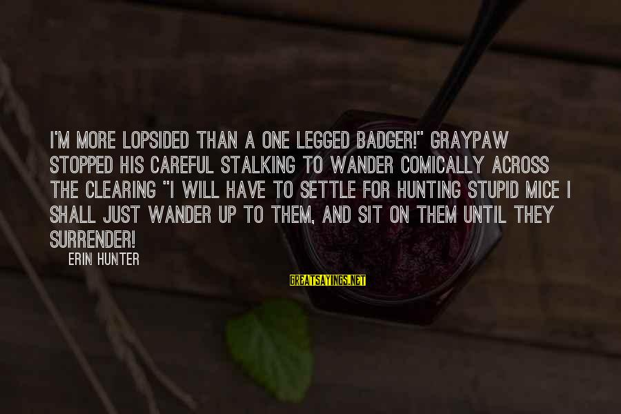 """Lopsided Sayings By Erin Hunter: I'm more lopsided than a one legged badger!"""" Graypaw stopped his careful stalking to wander"""
