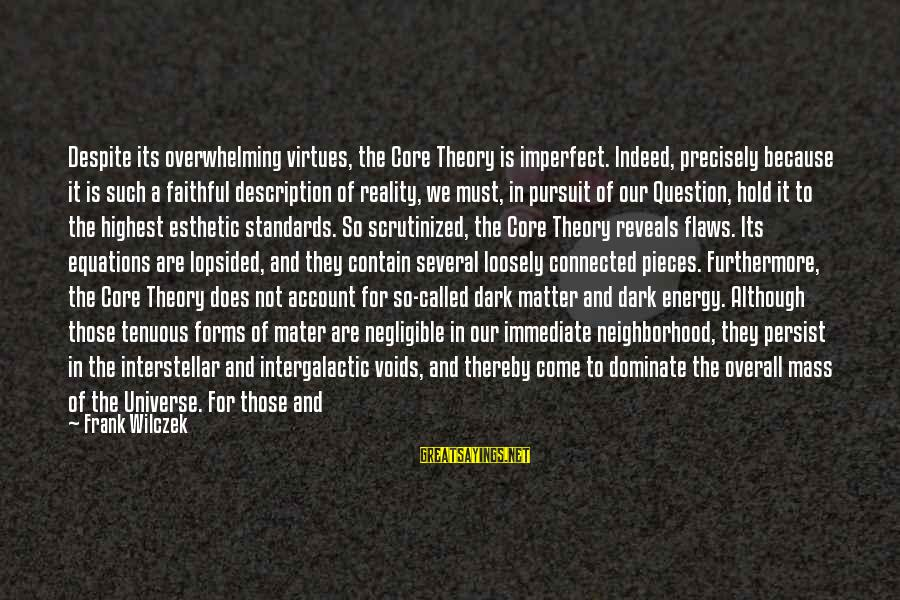 Lopsided Sayings By Frank Wilczek: Despite its overwhelming virtues, the Core Theory is imperfect. Indeed, precisely because it is such