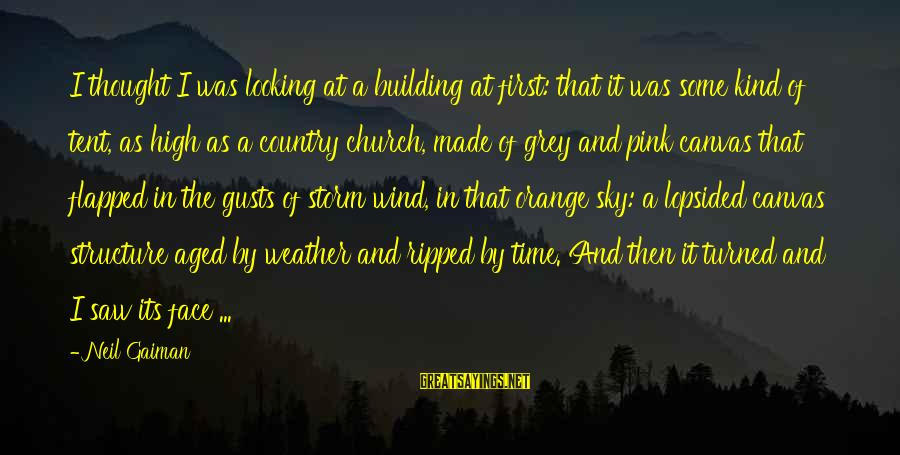 Lopsided Sayings By Neil Gaiman: I thought I was looking at a building at first: that it was some kind