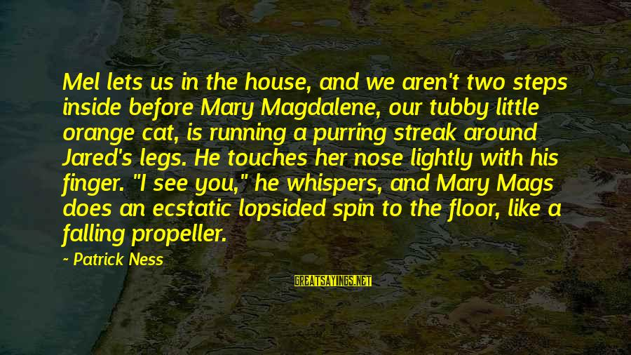 Lopsided Sayings By Patrick Ness: Mel lets us in the house, and we aren't two steps inside before Mary Magdalene,