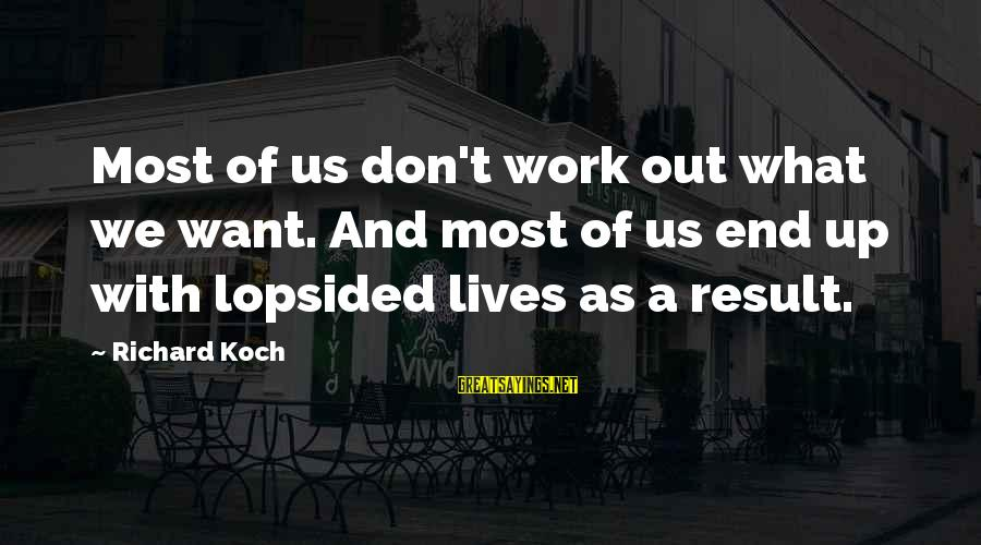 Lopsided Sayings By Richard Koch: Most of us don't work out what we want. And most of us end up