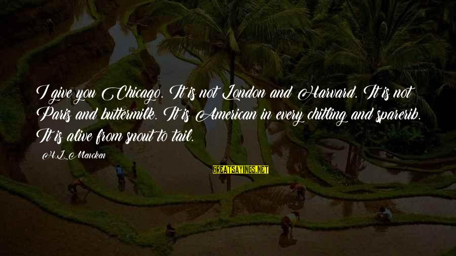 L'oreal Paris Sayings By H.L. Mencken: I give you Chicago. It is not London and Harvard. It is not Paris and