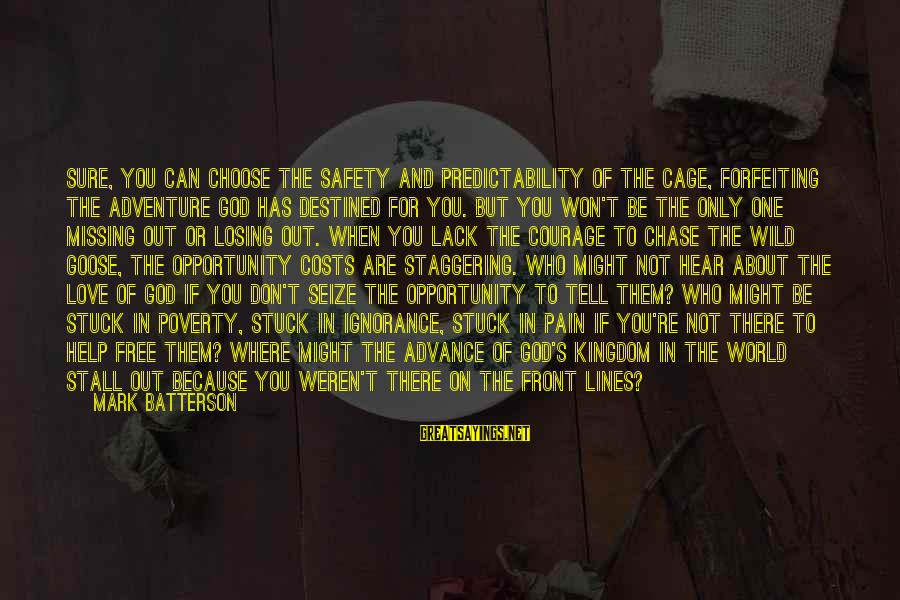 Losing Who You Love Sayings By Mark Batterson: Sure, you can choose the safety and predictability of the cage, forfeiting the adventure God