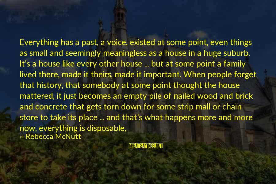 Lost And Empty Sayings By Rebecca McNutt: Everything has a past, a voice, existed at some point, even things as small and