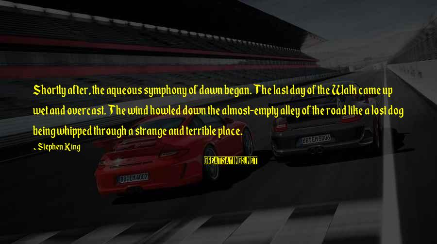 Lost And Empty Sayings By Stephen King: Shortly after, the aqueous symphony of dawn began. The last day of the Walk came