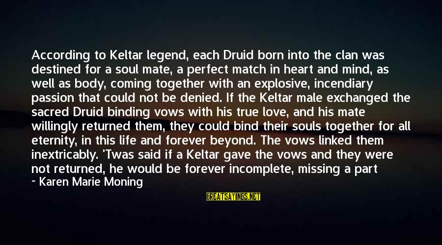Lost Match Sayings By Karen Marie Moning: According to Keltar legend, each Druid born into the clan was destined for a soul