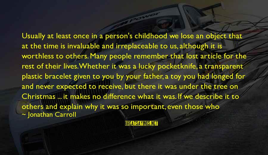 Lost Object Sayings By Jonathan Carroll: Usually at least once in a person's childhood we lose an object that at the