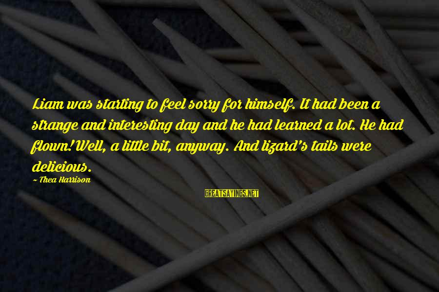 Lot Lizard Sayings By Thea Harrison: Liam was starting to feel sorry for himself. It had been a strange and interesting