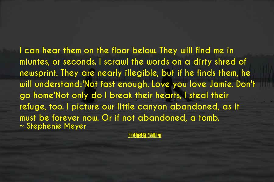 Love Abandoned Sayings By Stephenie Meyer: I can hear them on the floor below. They will find me in miuntes, or