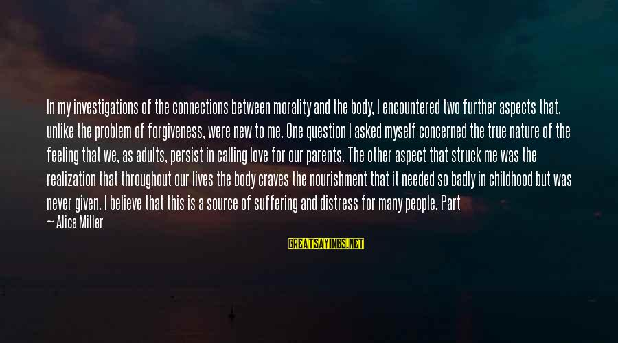 Love Between Parents Sayings By Alice Miller: In my investigations of the connections between morality and the body, I encountered two further