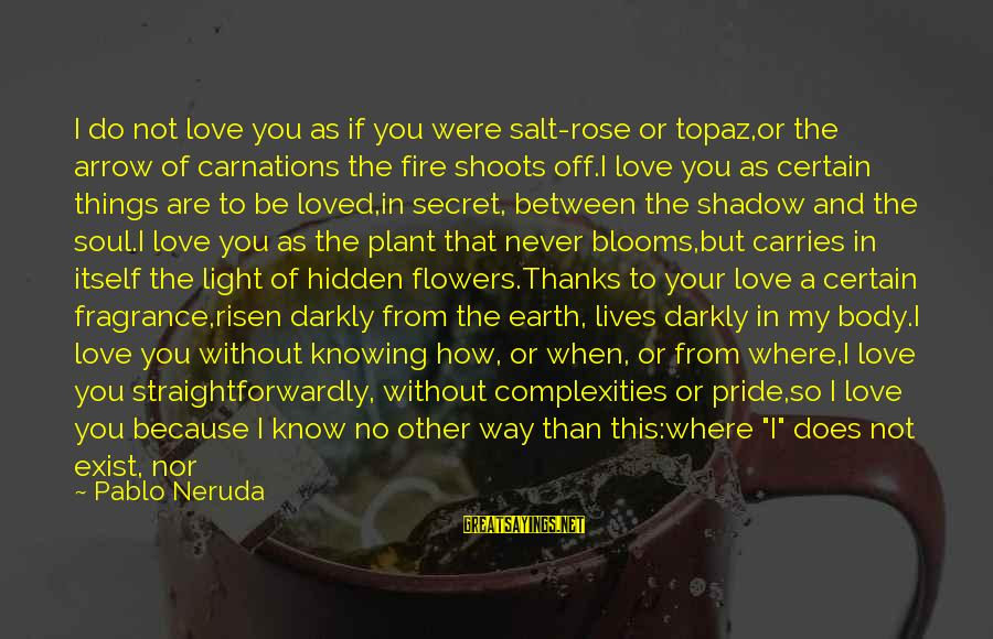 Love Blooms Sayings By Pablo Neruda: I do not love you as if you were salt-rose or topaz,or the arrow of