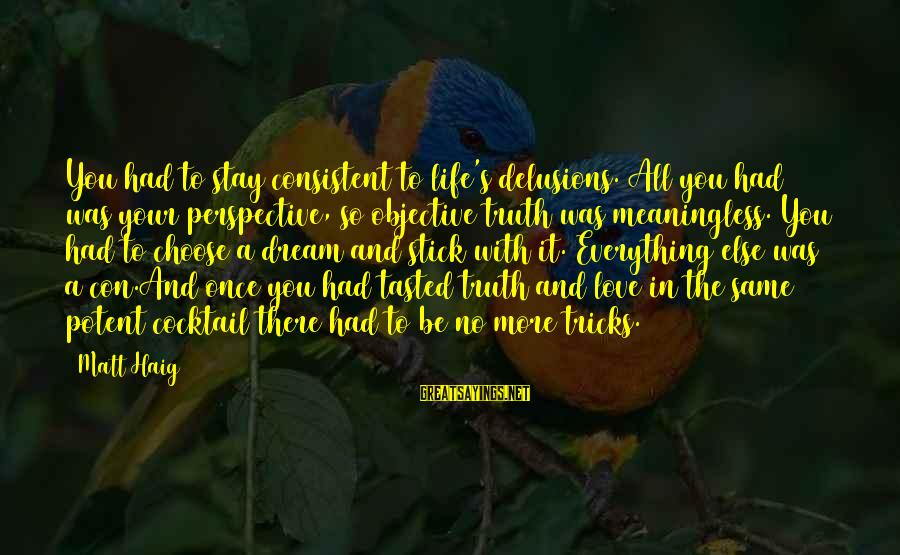Love Delusions Sayings By Matt Haig: You had to stay consistent to life's delusions. All you had was your perspective, so