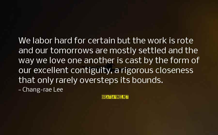 Love Is Hard Work Sayings By Chang-rae Lee: We labor hard for certain but the work is rote and our tomorrows are mostly