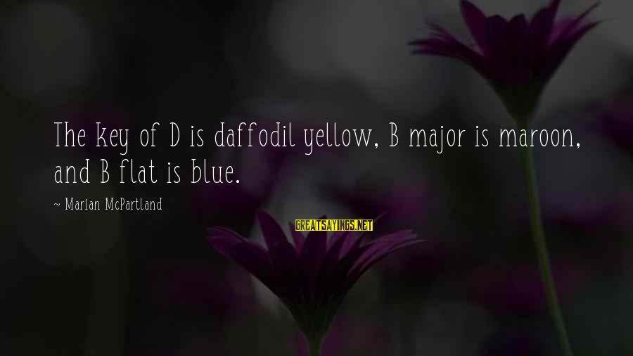 Love Kilig Sayings By Marian McPartland: The key of D is daffodil yellow, B major is maroon, and B flat is
