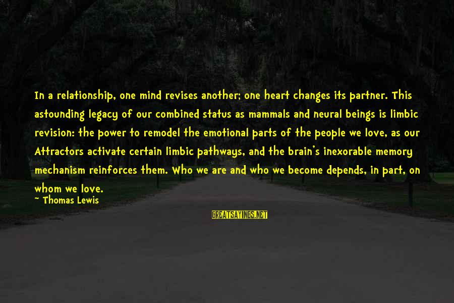 Love Mind And Heart Sayings By Thomas Lewis: In a relationship, one mind revises another; one heart changes its partner. This astounding legacy