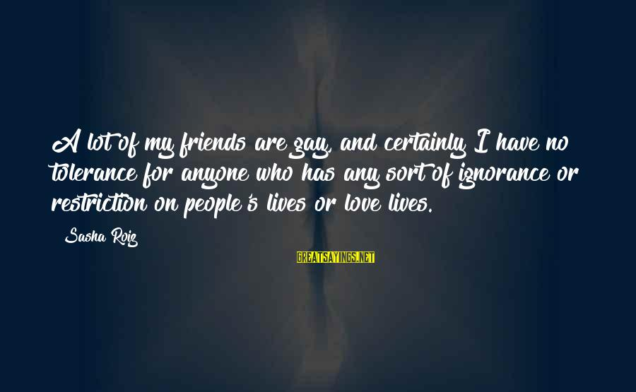 Love My Friends Sayings By Sasha Roiz: A lot of my friends are gay, and certainly I have no tolerance for anyone