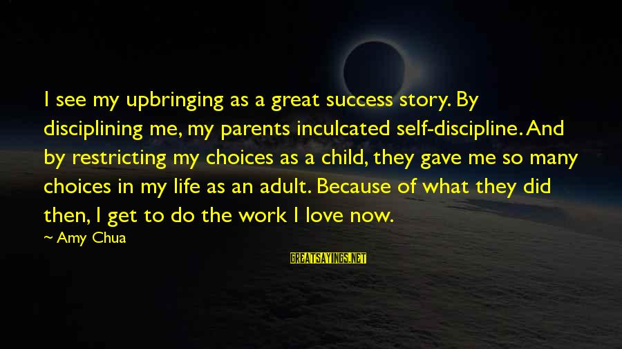 Love Of Parents Sayings By Amy Chua: I see my upbringing as a great success story. By disciplining me, my parents inculcated