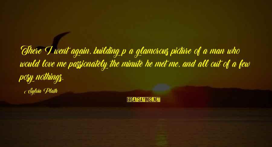Love Passionately Sayings By Sylvia Plath: There I went again, building p a glamorous picture of a man who would love