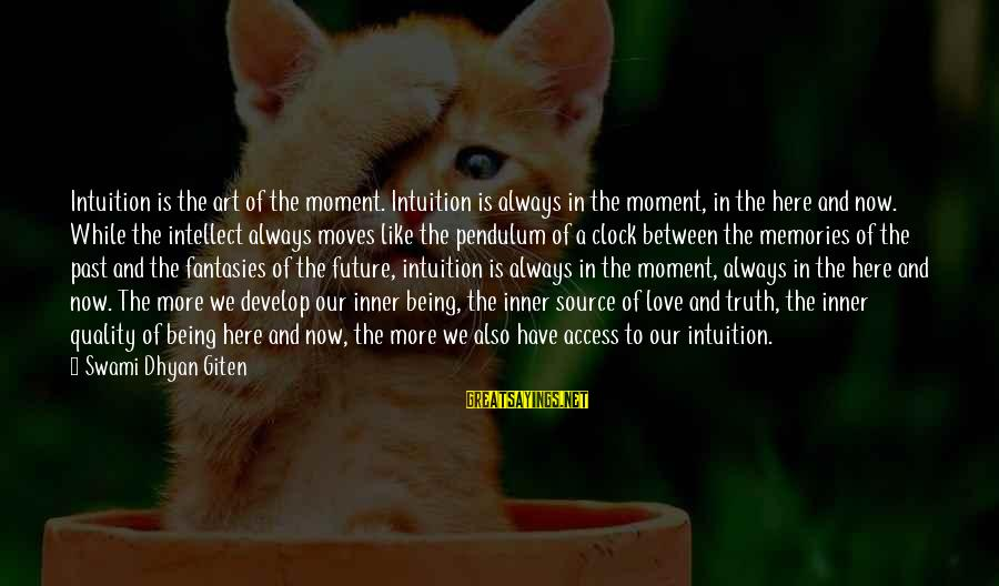 Love Pendulum Sayings By Swami Dhyan Giten: Intuition is the art of the moment. Intuition is always in the moment, in the