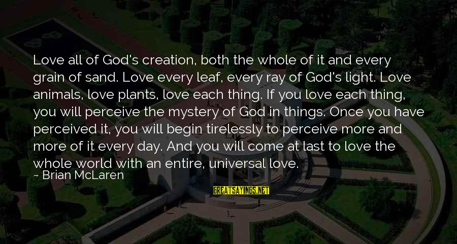 Love Perceive Sayings By Brian McLaren: Love all of God's creation, both the whole of it and every grain of sand.