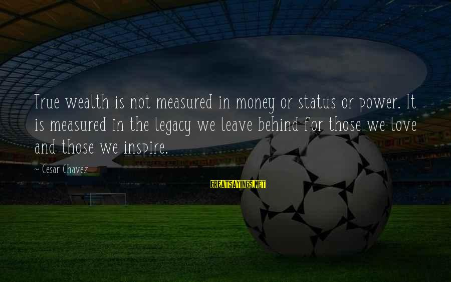 Love Status Sayings By Cesar Chavez: True wealth is not measured in money or status or power. It is measured in