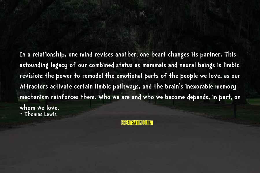 Love Status Sayings By Thomas Lewis: In a relationship, one mind revises another; one heart changes its partner. This astounding legacy