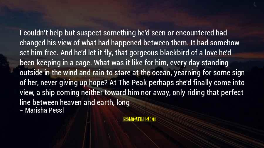 Love Suspect Sayings By Marisha Pessl: I couldn't help but suspect something he'd seen or encountered had changed his view of