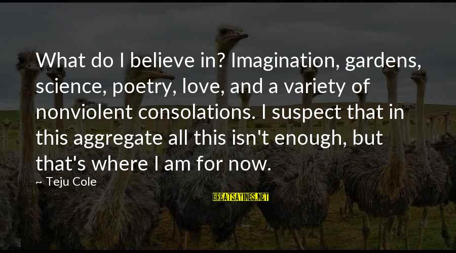 Love Suspect Sayings By Teju Cole: What do I believe in? Imagination, gardens, science, poetry, love, and a variety of nonviolent