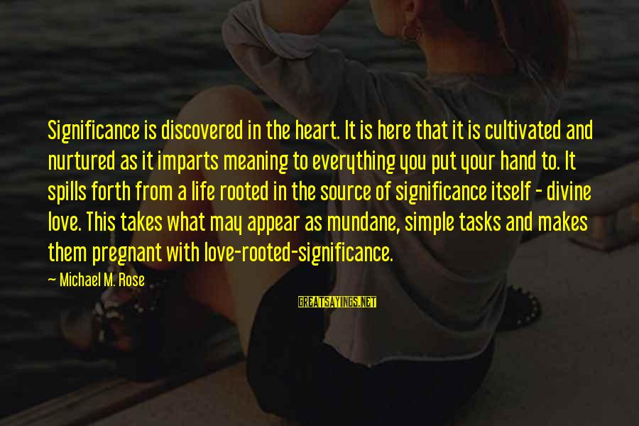 Love To Put Sayings By Michael M. Rose: Significance is discovered in the heart. It is here that it is cultivated and nurtured