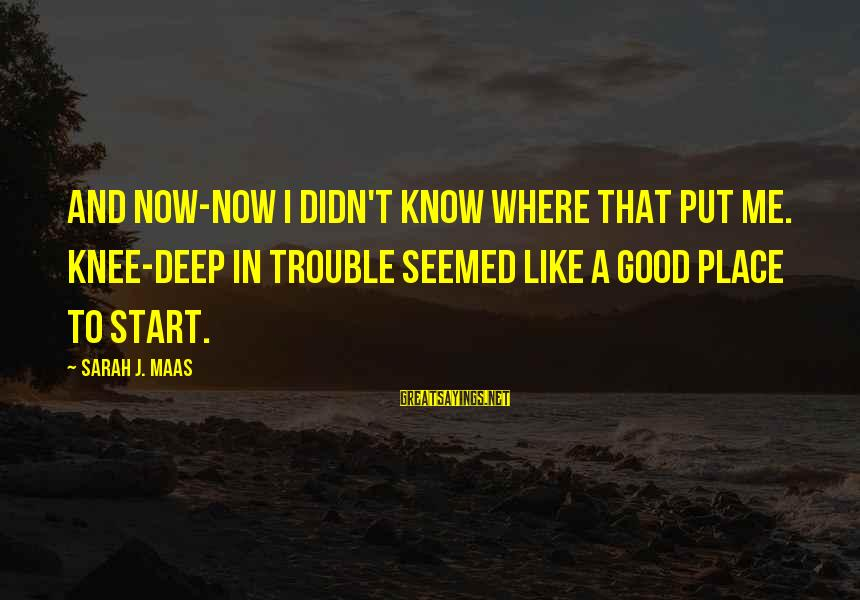 Love To Put Sayings By Sarah J. Maas: And now-now I didn't know where that put me. Knee-deep in trouble seemed like a