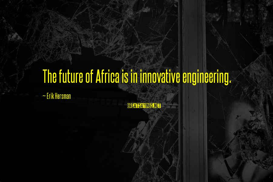Love Triangle Picture Sayings By Erik Hersman: The future of Africa is in innovative engineering.