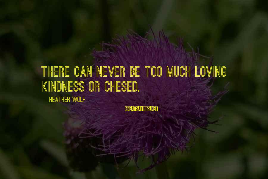 Loving Too Much Sayings By Heather Wolf: There can never be too much loving kindness or chesed.