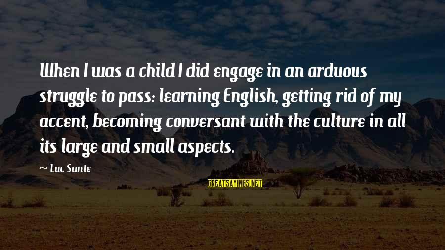 Luc Sante Sayings By Luc Sante: When I was a child I did engage in an arduous struggle to pass: learning