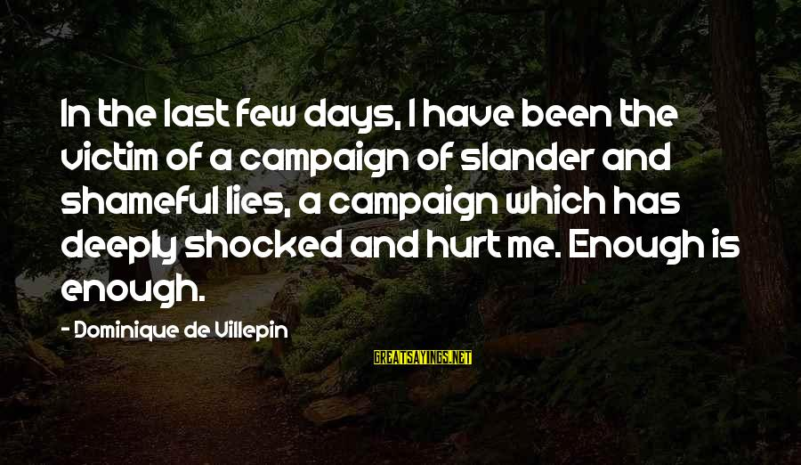Lying Deceit Sayings By Dominique De Villepin: In the last few days, I have been the victim of a campaign of slander