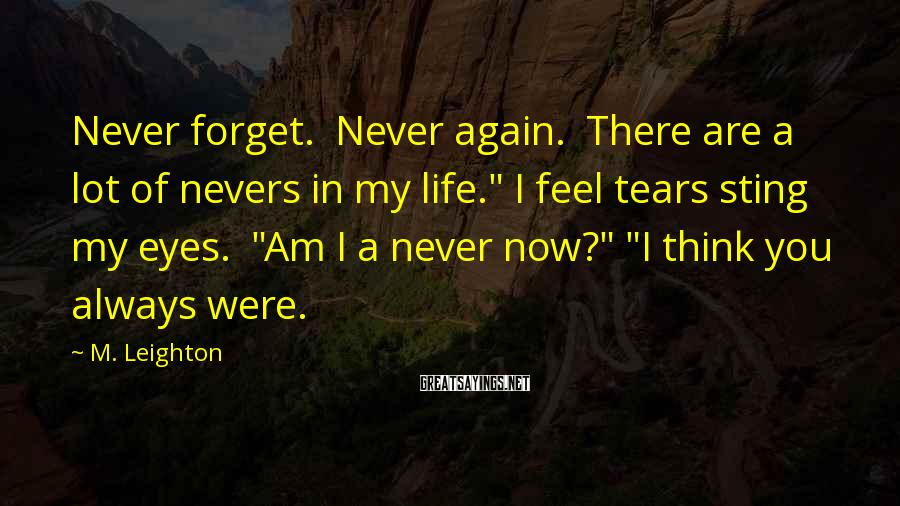"""M. Leighton Sayings: Never forget. Never again. There are a lot of nevers in my life."""" I feel"""