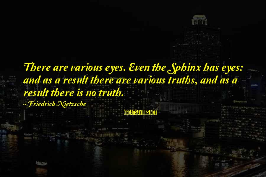 Maalouf Identity Sayings By Friedrich Nietzsche: There are various eyes. Even the Sphinx has eyes: and as a result there are