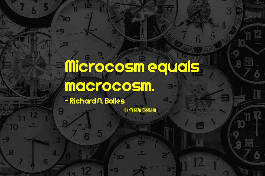 Macrocosm Sayings By Richard N. Bolles: Microcosm equals macrocosm.