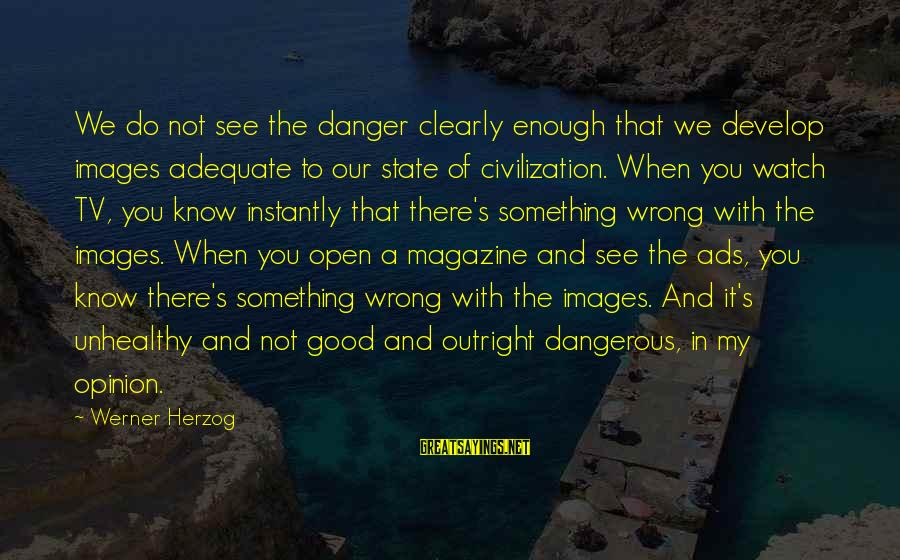 Magazine Ads Sayings By Werner Herzog: We do not see the danger clearly enough that we develop images adequate to our