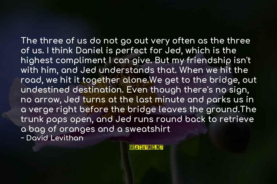 Make Do Sayings By David Levithan: The three of us do not go out very often as the three of us.