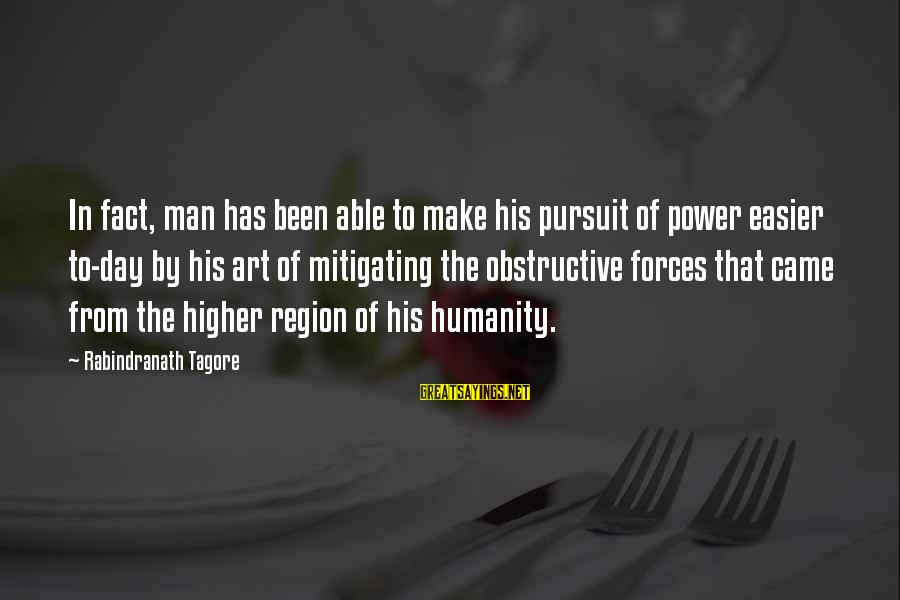 Make His Day Sayings By Rabindranath Tagore: In fact, man has been able to make his pursuit of power easier to-day by