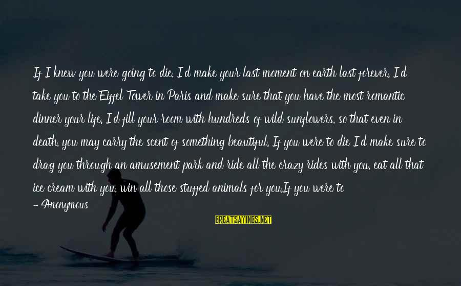 Make Your Life Beautiful Sayings By Anonymous: If I knew you were going to die, I'd make your last moment on earth