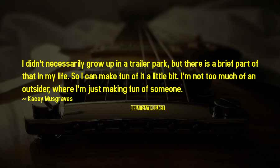 Making Fun Of Life Sayings By Kacey Musgraves: I didn't necessarily grow up in a trailer park, but there is a brief part