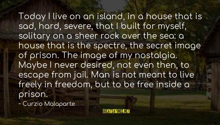 Man In Jail Sayings By Curzio Malaparte: Today I live on an island, in a house that is sad, hard, severe, that