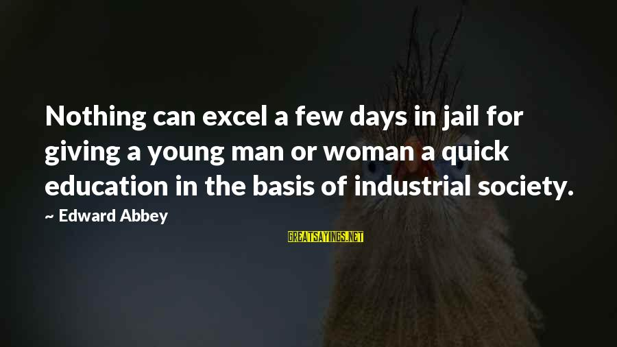 Man In Jail Sayings By Edward Abbey: Nothing can excel a few days in jail for giving a young man or woman