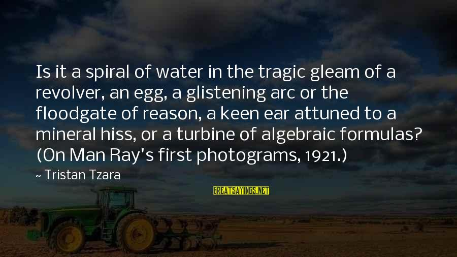 Man Ray's Sayings By Tristan Tzara: Is it a spiral of water in the tragic gleam of a revolver, an egg,