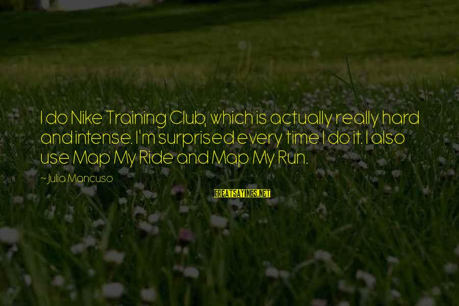 Mancuso Sayings By Julia Mancuso: I do Nike Training Club, which is actually really hard and intense. I'm surprised every