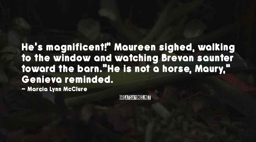 "Marcia Lynn McClure Sayings: He's magnificent!"" Maureen sighed, walking to the window and watching Brevan saunter toward the barn.""He"