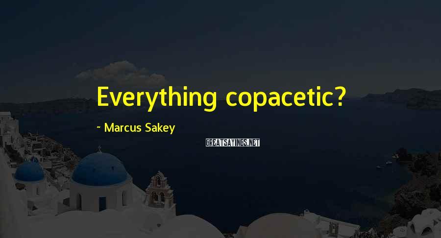 Marcus Sakey Sayings: Everything copacetic?