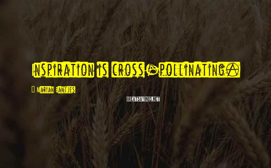 Marian Bantjes Sayings: Inspiration is cross-pollinating.