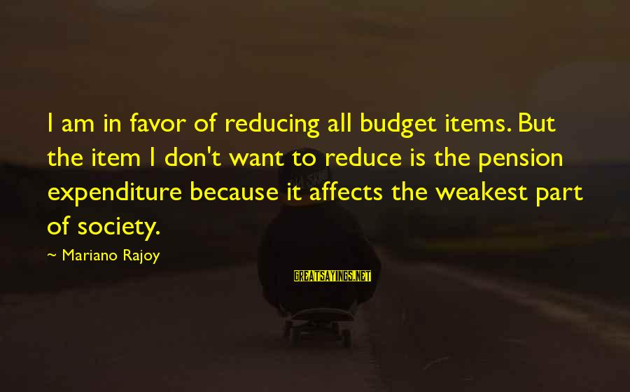 Mariano Sayings By Mariano Rajoy: I am in favor of reducing all budget items. But the item I don't want